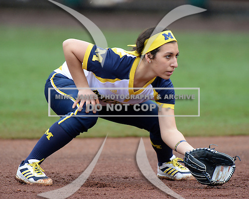 Michigan Wolverines infielder Abby Ramirez (1) during the season opener against the Florida Gators on February 8, 2014 at the USF Softball Stadium in Tampa, Florida.  Florida defeated Michigan 9-4 in extra innings.  (Copyright Mike Janes Photography)