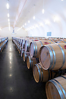 barrel aging cellar chateau la dauphine fronsac bordeaux france