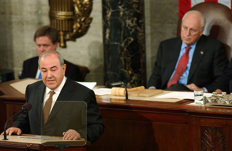 9/23/04.ALLAWI SPEECH--Iraqi Interim Prime Minister Ayad Allawi address the joint meeting of the House and Senate. Vice President Richard B. Cheney is at right..CONGRESSIONAL QUARTERLY PHOTO BY SCOTT J. FERRELL