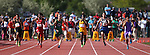 After a false start knocked out two competitors, the Division I boys 100-meter dash was a tight race in the NIAA state track and field championships at Carson High, in Carson City, Nev., on Friday, May 23, 2014. Bonanza's Jayveon Taylor, center, won with a time of 10.51. (Las Vegas Review-Journal, Cathleen Allison)