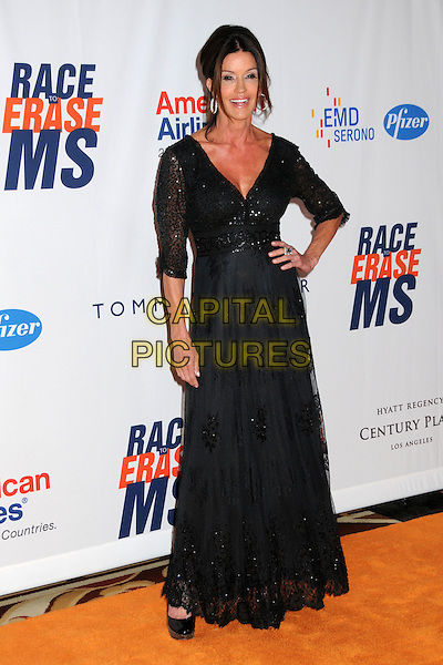 JANICE DICKINSON .18th Annual Race To Erase MS held at the Hyatt Regency Century Plaza Hotel, Century City, California, USA..April 29th, 2011.full length dress hand on hip maxi lace  black sequins sequined  .CAP/ADM/BP.©Byron Purvis/AdMedia/Capital Pictures.