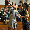 Falyn Dwyer #12 of Harborfields drives to the hoop during a Suffolk County varsity girls basketball game against Westhampton at Harborfields High School on Tuesday, Jan. 24, 2017. Harborfields won by a score of 53-25.