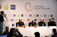 The Australia team, from left: Dylan Perry, Harrison Endycott, Travis Smith and Min-woo Lee. 2017 Asia-Pacific Amateur Championship presser at Royal Wellington Golf Club in Wellington, New Zealand on Wednesday, 25 October 2017. Photo: Dave Lintott / lintottphoto.co.nz