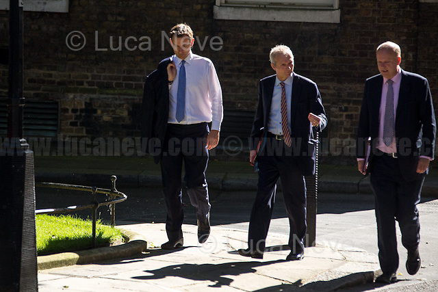 (From L to R) Jeremy Hunt MP (Secretary of State for Health), David Lidington MP (Lord President of the Council, Leader of the House of Commons) & Chris Grayling MP (Secretary of State for Transport).<br /> <br /> London, 19/07/2016. First Cabinet meeting at 10 Downing Street (after the EU Referendum and consequent David Cameron's resignation) for the new Prime Minister Theresa May and her newly formed Conservative Government.<br /> <br /> For more information about the Cabinet Ministers: https://www.gov.uk/government/ministers