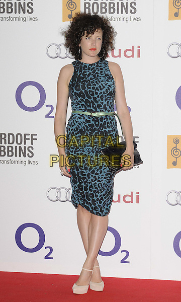 Annie Mac.attended the Nordoff Robbins O2 Silver Clef Awards 2012, London Hilton Park Lane Hotel, Park Lane, London, England, UK, 29th June 2012..full length blue black sleeveless animal print dress belt clutch bag  green beige nude shoes ankle strap platform .CAP/CAN.©Can Nguyen/Capital Pictures.