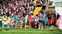 Lincoln City's Lee Frecklington leads his team out onto the pitch<br /> <br /> Photographer Chris Vaughan/CameraSport<br /> <br /> The EFL Sky Bet League Two - Lincoln City v Swindon Town - Saturday 11th August 2018 - Sincil Bank - Lincoln<br /> <br /> World Copyright &copy; 2018 CameraSport. All rights reserved. 43 Linden Ave. Countesthorpe. Leicester. England. LE8 5PG - Tel: +44 (0) 116 277 4147 - admin@camerasport.com - www.camerasport.com