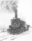 Pilot end view of K-36 #480 double-heading on a snowy day on the Valley Line.<br /> D&amp;RGW    Taken by Richardson, Robert W. - 2/17/1958