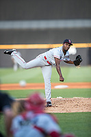 Louisville Bats pitcher Wendolyn Bautista (38) delivers a pitch to the plate against the Toledo Mud Hens during the International League baseball game on May 17, 2017 at Fifth Third Field in Toledo, Ohio. Toledo defeated Louisville 16-2. (Andrew Woolley/Four Seam Images)