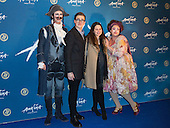 London, UK. 19 January 2016. Cirque du Soleil clowns Pavel Mikhaylov and Gabriella Argento pose with Tom and Giovanna Fletcher. Celebrities arrive on the red carpet for the London premiere of Amaluna, the latest show of Cirque du Soleil, at the Royal Albert Hall.