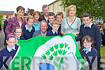 Rugby legend Mick Galwey returned to his to Currow NS to unvail the Green flag at the school on Tuesday front row l-r: Joanne McCarthy, Edel Brosnan, Elizabeth McInerney, Mick Galwey, Luke O'Loughlin, Eilish Brosnan. Back row: Mary Fleming, Margaret Hannafin, Peter O'Connor, Padraig Broderick, Moss O'Callaghan, Mrs Horan and Niall Brosnan