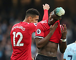 Paul Pogba of Manchester United wipes his face during the premier league match at the Etihad Stadium, Manchester. Picture date 7th April 2018. Picture credit should read: Simon Bellis/Sportimage