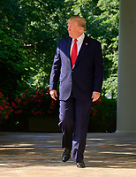 United States President Donald J. Trump arrives to sign H.R. 1327, an act to permanently authorize the September 11th victim compensation fund, in the Rose Garden of the White House in Washington, DC on Monday, July 29, 2019. <br /> Credit: Ron Sachs / Pool via CNP/AdMedia