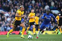 Adama Traore of Wolverhampton Wanderers races upfield during Chelsea vs Wolverhampton Wanderers, Premier League Football at Stamford Bridge on 10th March 2019