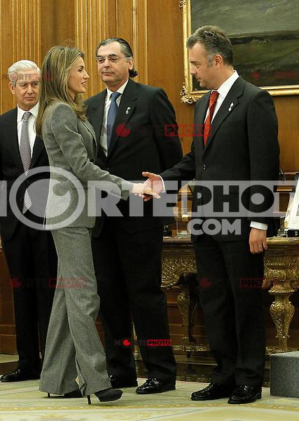 Princess Letizia of Spain attends audiences with a representation of the Royal Cavalry of Valencia (Real Maestranza de Caballeria de Valencia).January 10 ,2012. (ALTERPHOTOS/Acero) /NortePhoto
