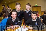 Mikey McCarthy, Tim Pullman Damon, back l-r Eoin Creedon, Cahal Culloty from Scoil Nuachabhail at the Credit Union Primary schools  Table Quiz in Brandon Hotel on Sunday