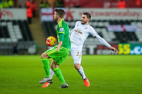 Angel Rangel of Swansea gives the ball away during the Barclays Premier League match between Swansea City and Sunderland played at the Liberty Stadium, Swansea  on  January the 13th 2016