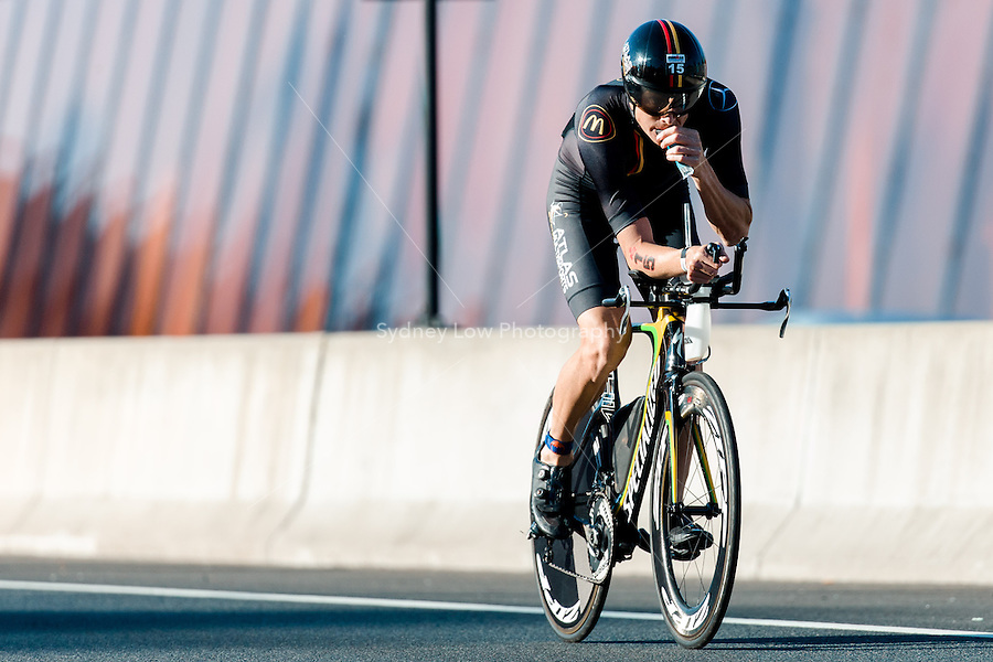 MELBOURNE, March 21, 2015 - Casey MUNRO (AUS) #15 on the bike leg of the 2015 IRONMAN Asia-Pacific Championship in Melbourne, Australia on Sunday March 21, 2015. (Photo Sydney Low / sydlow.com)