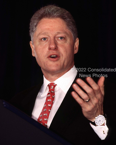 Washington, DC - February 27, 1997 - United States President Bill Clinton speaks before a meeting of The Business Council..Credit: Ron Sachs / CNP