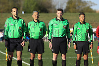 Piscataway, NJ, April 24, 2016.  Match officials Matthew Kreitzer, Victor Vasquez Rosario Candela, and Jorge Ramirez, await introduction prior to the game between Sky Blue FC and the Washington Spirit.  The Washington Spirit defeated Sky Blue FC 2-1 during a National Women's Soccer League (NWSL) match at Yurcak Field.