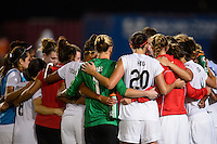 Washington Spirit players huddle after the match. Sky Blue FC defeated the Washington Spirit 1-0 during a National Women's Soccer League (NWSL) match at Yurcak Field in Piscataway, NJ, on August 3, 2013.