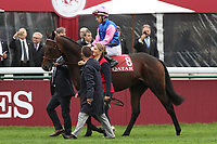 October 07, 2018, Longchamp, FRANCE - Tiberian with William Buick up at the parade for the Qatar Prix de l'Arc de Triomphe (Gr. I) at  ParisLongchamp Race Course  [Copyright (c) Sandra Scherning/Eclipse Sportswire)]
