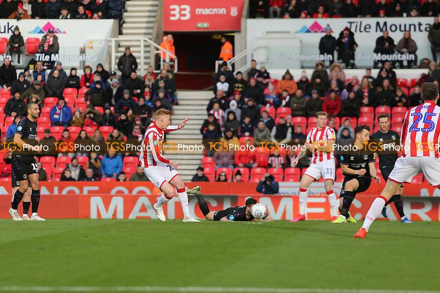 Sam Clucas of Stoke City has a shot blocked during Stoke City vs Charlton Athletic, Sky Bet EFL Championship Football at the bet365 Stadium on 8th February 2020