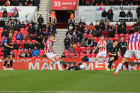 Sam Clucas of Stoke City has a shot blocked during Stoke City vs Charlton Athletic, Sky Bet EFL Championship Football at the bet365 Stadium on 8th February 2020
