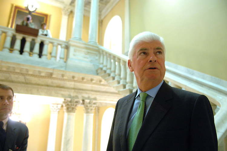 Sen. Chris Dodd, D-Conn., speaks to a reporter after a news conference against the Senate Intelligence Committee version of the Foreign Intelligence Surveillance Act (FISA) and stated that he is prepared to offer his own amendment to strip the immunity language from the bill.