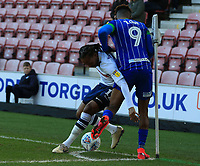 8th February 2020; DW Stadium, Wigan, Greater Manchester, Lancashire, England; English Championship Football, Wigan Athletic versus Preston North End; Daniel Johnson of Preston North End and Jamal Lowe of Wigan Athletic compete for the ball near the corner flag