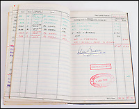 BNPS.co.uk (01202 558833)<br /> Pic: C&amp;TAuctions/BNPS<br /> <br /> 'Failed to return'... The final entry in Flight Sergeant Norman Mayo's logbook.<br /> <br /> A poignant time capsule containing the last belongings of a tragic airman his grief-stricken parents couldn't bring themselves to look at has been discovered during a house clearance.<br /> <br /> The poignant archive of letters, logbooks, diary, photos and medals relating to Flight Sergeant Norman Mayo were placed in a small suitcase in 1945 by Albert and Annie Mayo and seemingly never opened again.<br /> <br /> The black leather case was found stashed under a bed by a house clearance firm tasked with getting rid of the contents before the empty property in Finchley, North London.<br /> <br /> The archive is now being sold by C&amp;T Auctioneers.