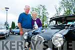 At the Kingdom Veteran Vintage & Classic Car Club's annual Ballymac Vintage Car and Honda 50 Run in aid of Down Syndrome Kerry at O'Riada's Bar were Jerry O'Keeffe and Noreen O'Keeffe from Tralee with the 1955 Austin 830
