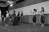 Artists are training inside the Preah Suramarith theatre. Phnom Penh, Cambodia-2005