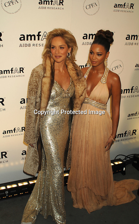 Sharon Stone and Beyonce ..arriving at The amFAR 2007 Gala at Ciprianis 42nd Street..on January 31, 2007. The Honorees were Sharon Stone, ..John Demsey and Bill Roedy..Robin Platzer, Twin Images