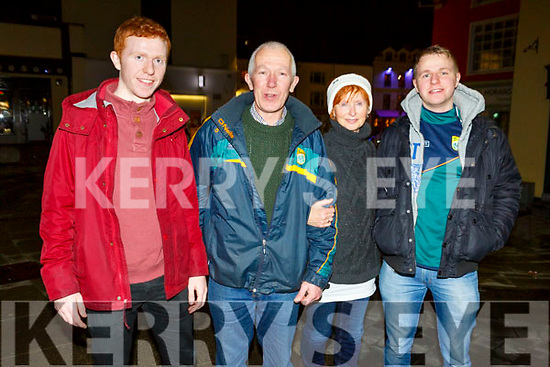 The O'Connor family from Ardfert celebrating Kerrys win in the Square on Saturday night. <br /> L to r: Padraig, Paddy, Mary and Brendan O'Connor.