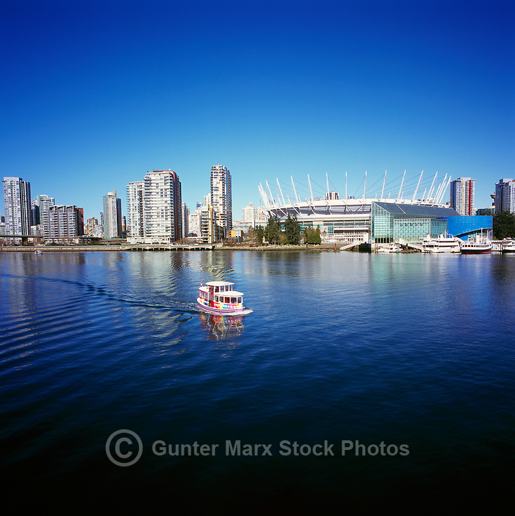 City of Vancouver Skyline, BC Place Stadium (New Retractable Roof completed in 2011) and Edgewater Casino, Vancouver, BC, British Columbia, Canada