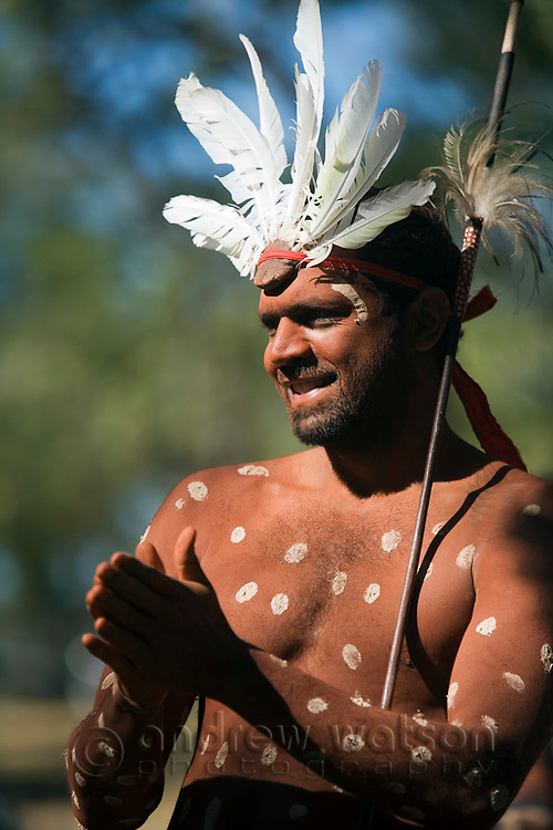 Dancer from the Aurukun community at the Laura Aboriginal Dance Festival.  Laura, Queensland, Australia
