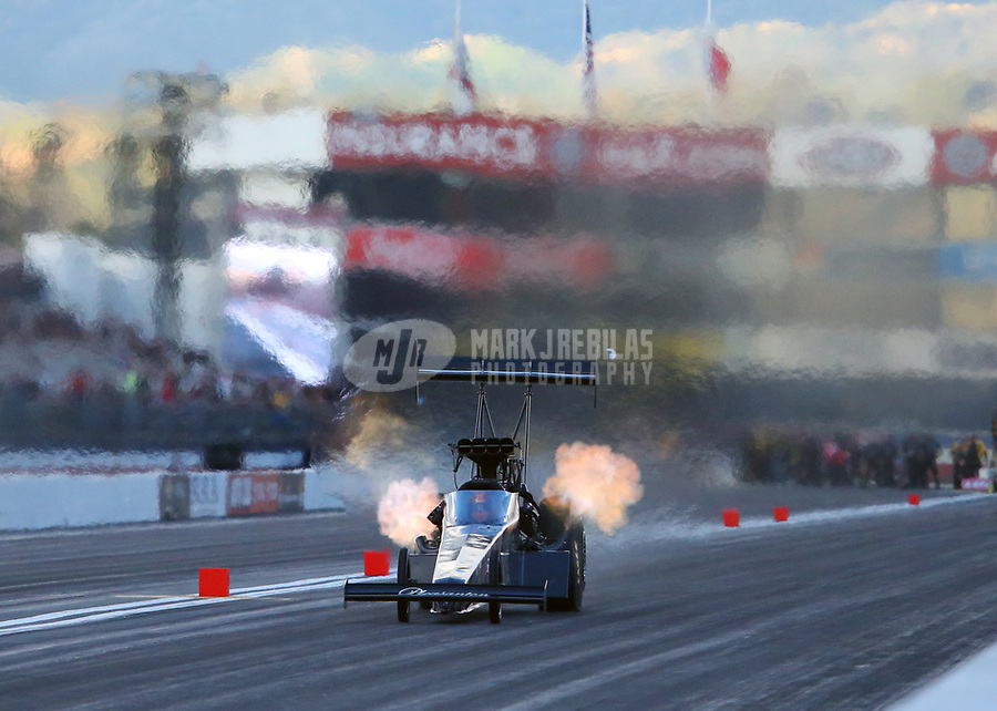 Feb 9, 2019; Pomona, CA, USA; NHRA top fuel driver Mike Salinas during qualifying for the Winternationals at Auto Club Raceway at Pomona. Mandatory Credit: Mark J. Rebilas-USA TODAY Sports