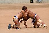 Xingu Indigenous Park, Mato Grosso State, Brazil. Aldeia Matipu (Matipu). Practicing Huka-Huka fighting. Autamaco and Maike.