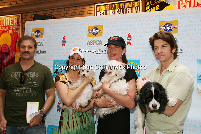 """9 to 5 cast - Marc Kudisch, Stephanie Block, Allison Janney, Andy Karl at Broadway Barks 11 - a """"Pawpular"""" star-studded dog and cat adopt-a-thon on July 11, 2009 in Shubert Alley, New York City, NY. (Photo by Sue Coflin/Max Photos)"""