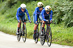 Italian team in action during the Team Time Trial Mixed Relay in Harrogate of the UCI World Championships 2019 running from Harrogate to Harrogate, England. 22nd September 2019.<br /> Picture: Alex Broadway/SWPix.com | Cyclefile<br /> <br /> All photos usage must carry mandatory copyright credit (© Cyclefile | Alex Broadway/SWPix.com)