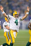Quarterback Brett Favre #4 of the Green Bay Packers celebrates his NFL record 421st touchdown pass during an NFL football game against the Minnesota Vikings at Hubert H. Humphrey Metrodome on September 30, 2007 in Minneapolis, Minnesota. (Photo by David Stluka)