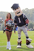 August 2, 2017: New England Patriots mascot Pat Patriot and a Patriots cheerleader entertain fans at the New England Patriots training camp held at Gillette Stadium, in Foxborough, Massachusetts. Eric Canha/CSM