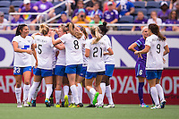 Orlando, FL - Sunday July 10, 2016: Mollie Pathman celebrates scoring during a regular season National Women's Soccer League (NWSL) match between the Orlando Pride and the Boston Breakers at Camping World Stadium.