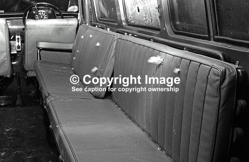 Scene of Kingsmill Whitecross Massacre in which 10 Protestant textile workers were shot dead by the Republican Action Force, generally accepted as a covername for the Provisional IRA. A view of the interior of the minibus  shows the stuffing protruding from the upholstery where the bullets enterered. 1976010011b.<br />