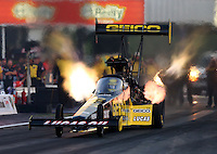 Apr 25, 2014; Baytown, TX, USA; NHRA top fuel dragster driver Richie Crampton during qualifying for the Spring Nationals at Royal Purple Raceway. Mandatory Credit: Mark J. Rebilas-USA TODAY Sports