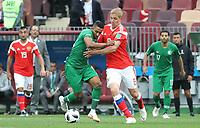 Iury Gazinsky (Russland, Russia) gegen Salem Al-Dawsari (Saudi-Arabien) - 14.06.2018: Russland vs. Saudi Arabien, Eröffnungsspiel der WM2018, Luzhniki Stadium Moskau