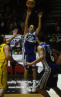 Saints guard Boyd Scirkovich attempts a three-pointer during the NBL Round 9 match between the Wellington Saints and Nelson Giants at TSB Bank Arena, Wellington, New Zealand on Thursday 7 May 2009. Photo: Dave Lintott / lintottphoto.co.nz