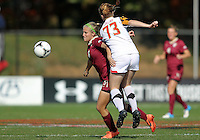 COLLEGE PARK, MD - OCTOBER 21, 2012:  Shannon Collins (73) of the University of Maryland pushes into the back of Michaela Hahn (8) of Florida State during an ACC women's match at Ludwig Field in College Park, MD. on October 21. Florida won 1-0.