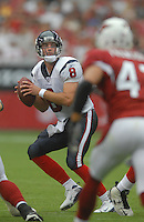 Aug 18, 2007; Glendale, AZ, USA; Houston Texans quarterback Matt Schaub (8) drops back to pass against the Arizona Cardinals at University of Phoenix Stadium. Mandatory Credit: Mark J. Rebilas-US PRESSWIRE Copyright © 2007 Mark J. Rebilas