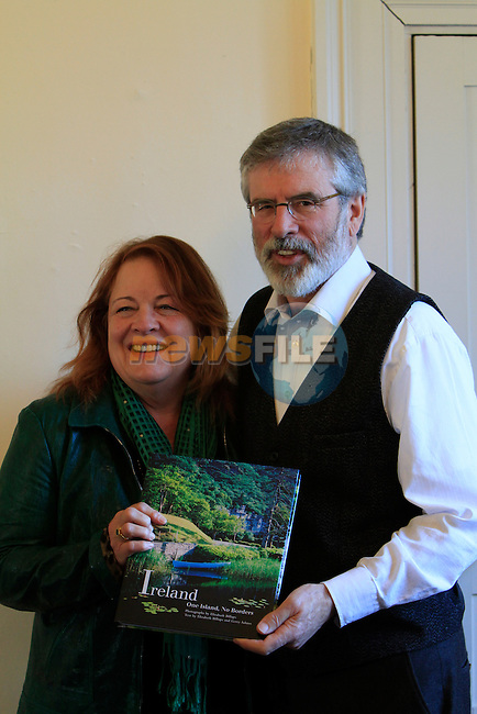 Elizabeth Billups with Gerry Adams during the book launch of Ireland, One Island, No Borders by Elizabeth Billups and Gerry Adams at the Drogheda Arts Centre on Friday 13th March 2015.<br /> Picture:  Thos Caffrey / www.newsfile.ie